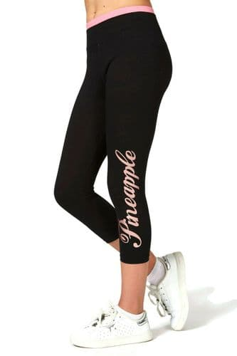 PINEAPPLE DANCEWEAR Girls Crop Logo Wrap Dance Leggings Rose Gold Foil Logo